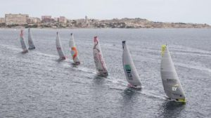 Volvo Ocean Race met Team Brunel vooraan.