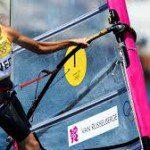 Olympisch kampioen windsurfen breekt pols.