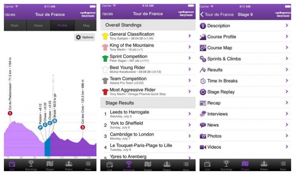 CyclingNews Tour Tracker screenshot iphone