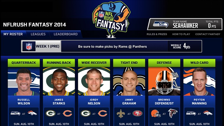 NFL screenshot van een fantasy draft