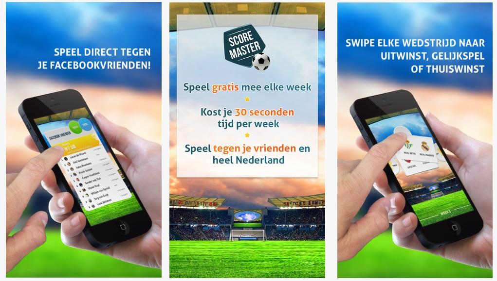 Screenshot van de ScoreMaster Sport app